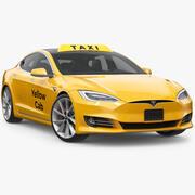 Yellow Cab Taxi Tesla 3d model