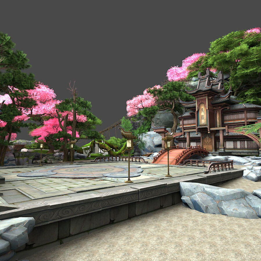 Ancient Asian architecture royalty-free 3d model - Preview no. 10