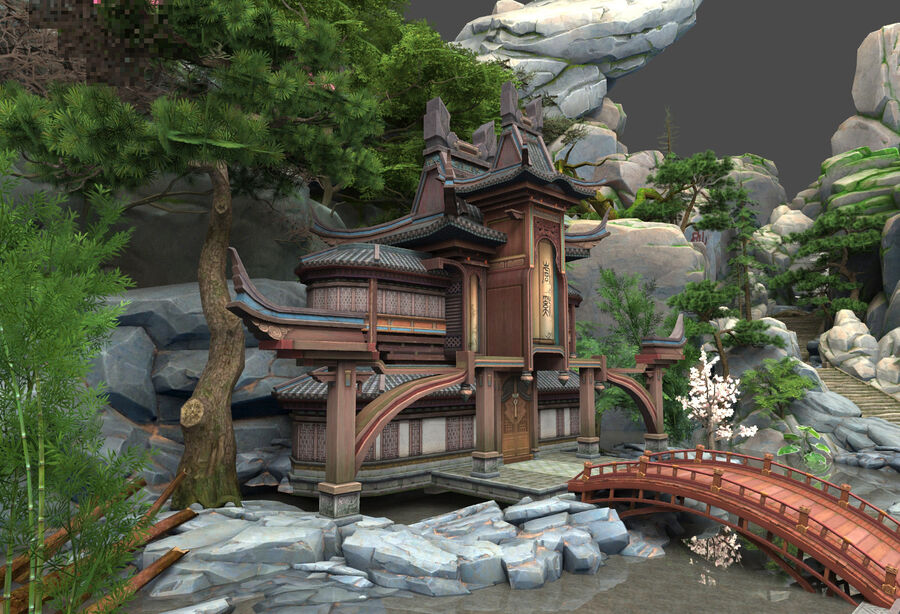 Ancient Asian architecture royalty-free 3d model - Preview no. 2