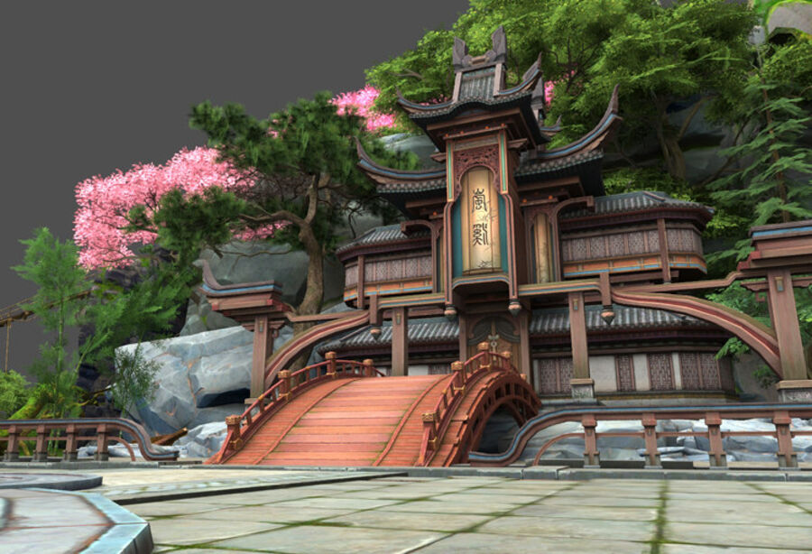 Ancient Asian architecture royalty-free 3d model - Preview no. 1
