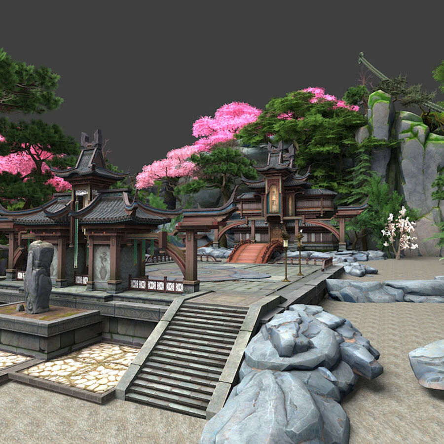 Ancient Asian architecture royalty-free 3d model - Preview no. 24