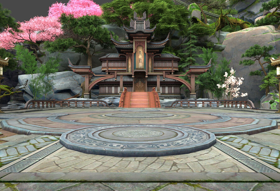 Ancient Asian architecture royalty-free 3d model - Preview no. 6