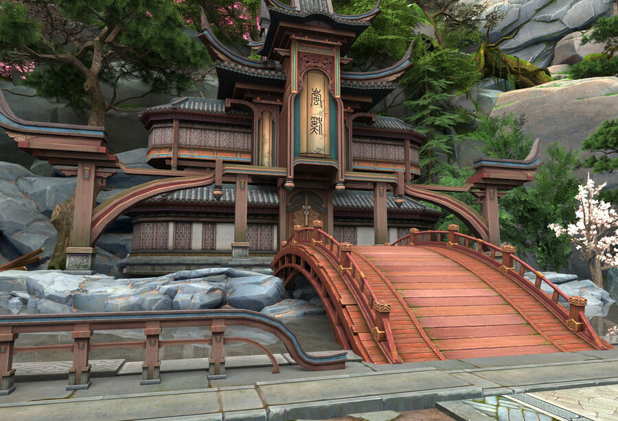 Ancient Asian architecture royalty-free 3d model - Preview no. 4