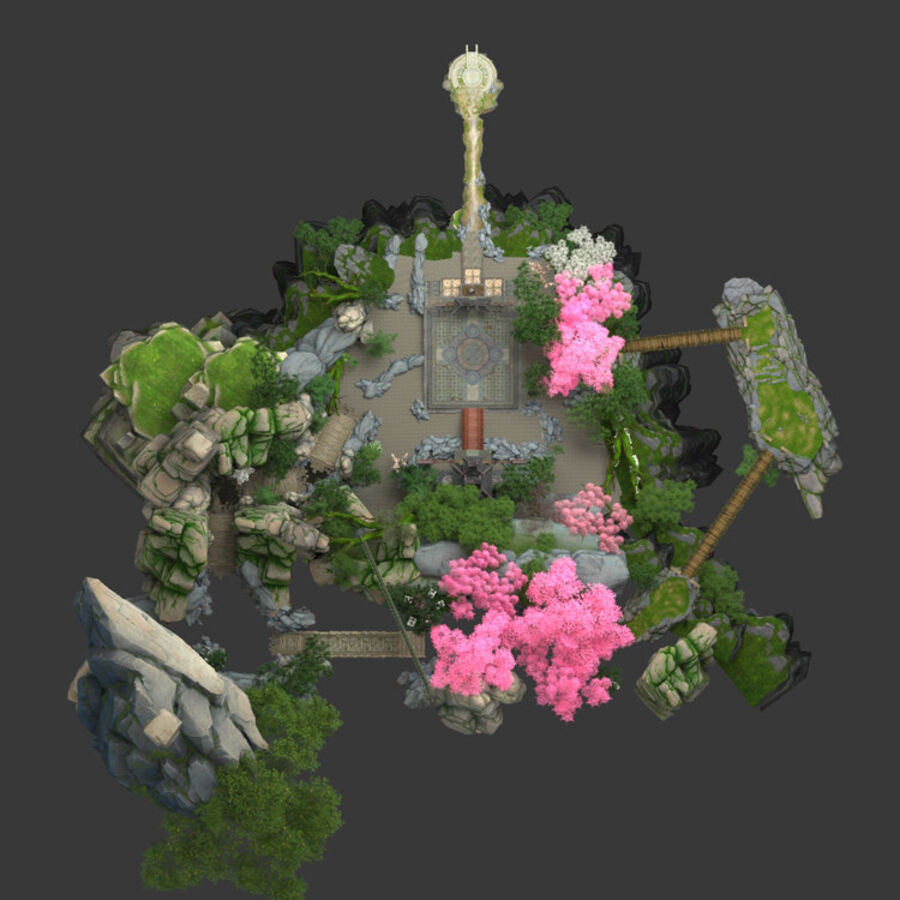 Ancient Asian architecture royalty-free 3d model - Preview no. 11