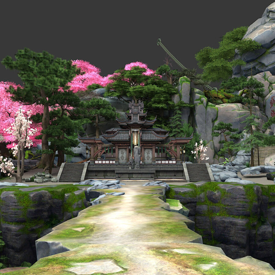 Ancient Asian architecture royalty-free 3d model - Preview no. 5