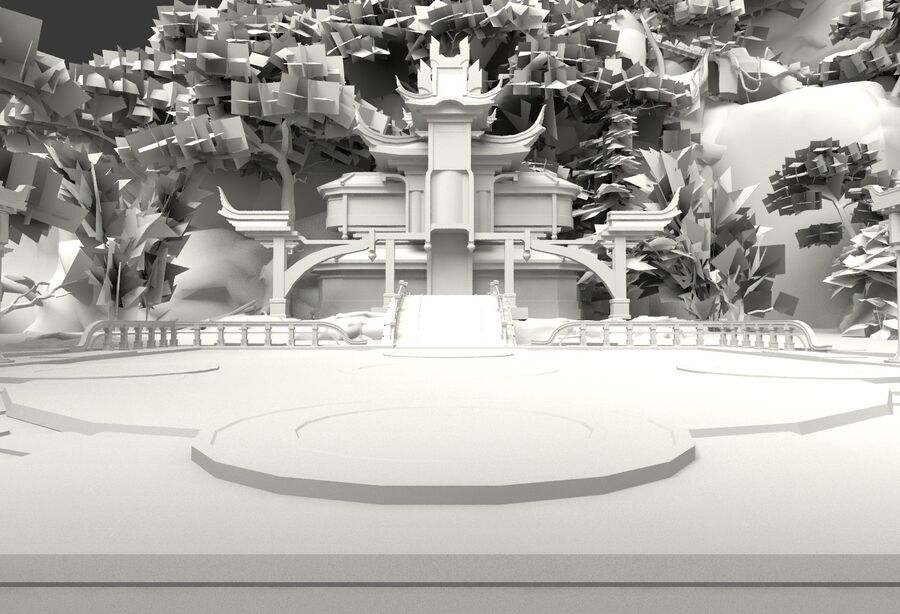 Ancient Asian architecture royalty-free 3d model - Preview no. 29