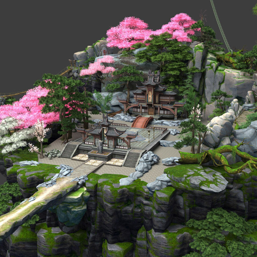 Ancient Asian architecture royalty-free 3d model - Preview no. 18