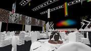Dîner de conférence exposition événement sur scène pour 1000 personnes 2880 m2 3d model