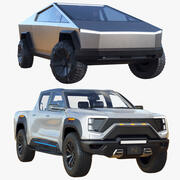 Pacchetto auto Tesla Cybertruck Nikola Badger 3d model