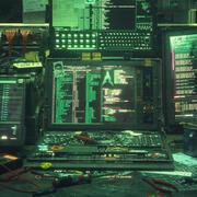 Espace de travail de piratage cyberpunk 3d model