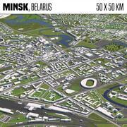 Минск Беларусь 50х50км 3d model