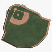 Pared de ladrillo del campo de béisbol modelo 3d