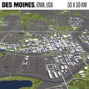 Des Moines Iowa USA 50x50km 3d model