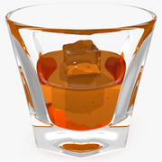 Skott exponeringsglas av whisky med is 3d model