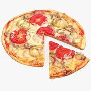 Pizza con rebanada modelo 3d