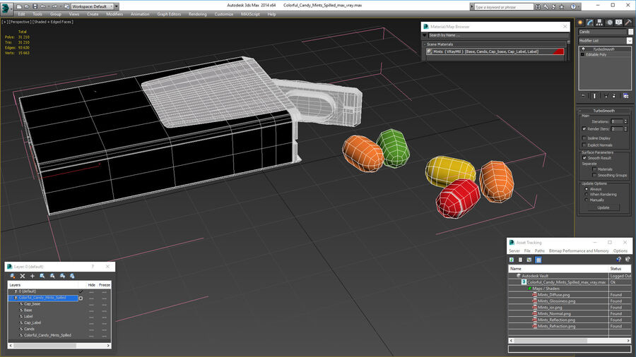 Colorful Candy Mints Spilled royalty-free 3d model - Preview no. 19