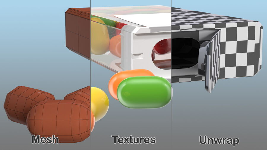 Colorful Candy Mints Spilled royalty-free 3d model - Preview no. 14