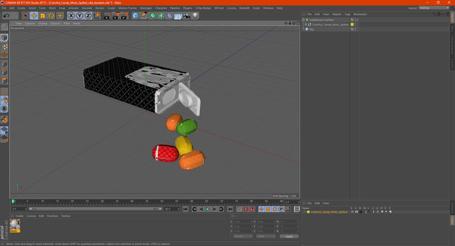 Colorful Candy Mints Spilled royalty-free 3d model - Preview no. 20