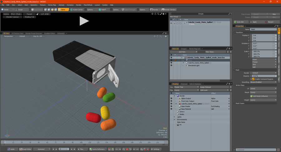 Colorful Candy Mints Spilled royalty-free 3d model - Preview no. 23