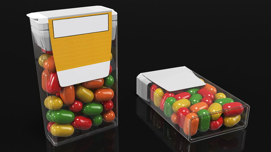Container with Colorful Dragee royalty-free 3d model - Preview no. 7