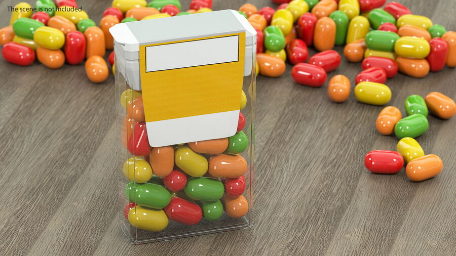 Container with Colorful Dragee royalty-free 3d model - Preview no. 4