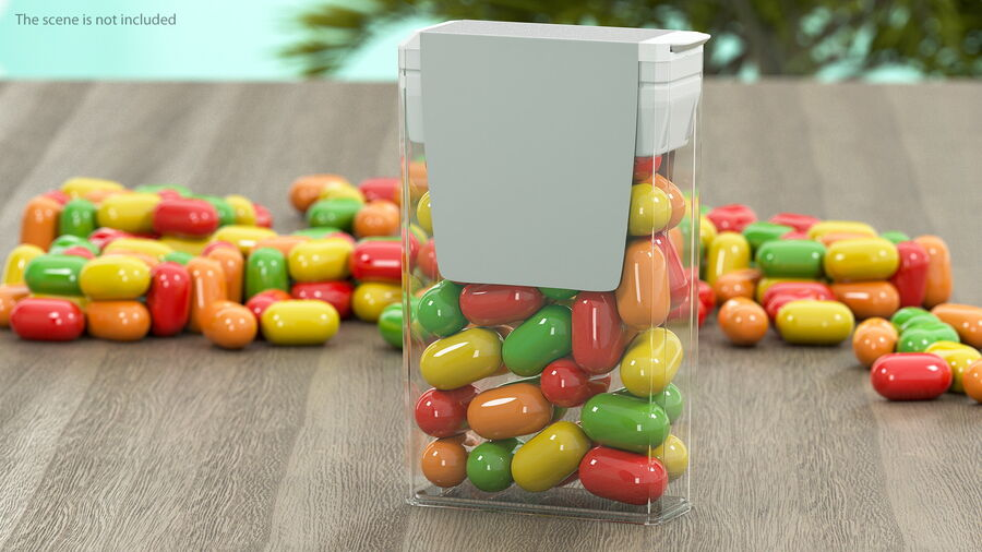 Container with Colorful Dragee royalty-free 3d model - Preview no. 3