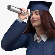 Certificato di partecipazione femminile laureato all'università 3d model