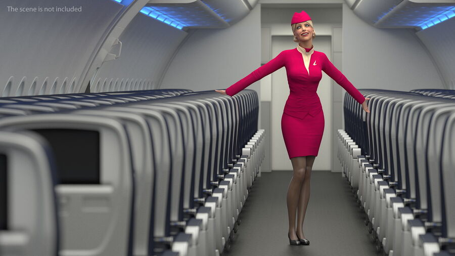 Flight Attendant in Maroon Dress royalty-free 3d model - Preview no. 6