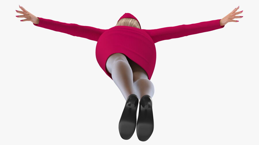 Flight Attendant in Maroon Dress royalty-free 3d model - Preview no. 15