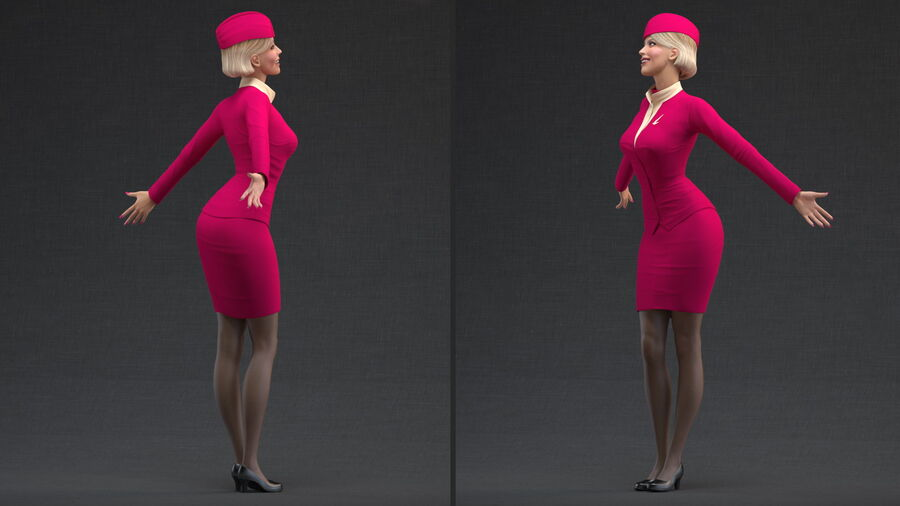 Flight Attendant in Maroon Dress royalty-free 3d model - Preview no. 4