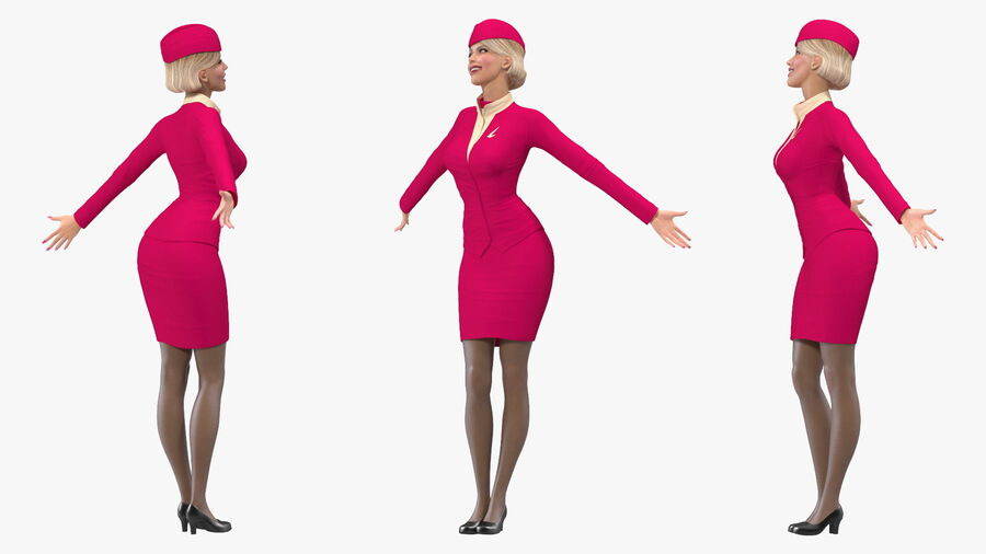 Flight Attendant in Maroon Dress royalty-free 3d model - Preview no. 9