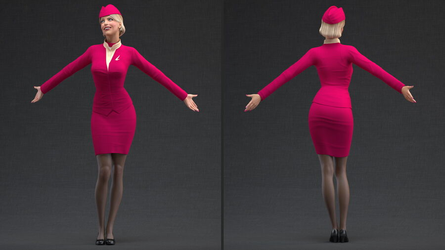 Flight Attendant in Maroon Dress royalty-free 3d model - Preview no. 3