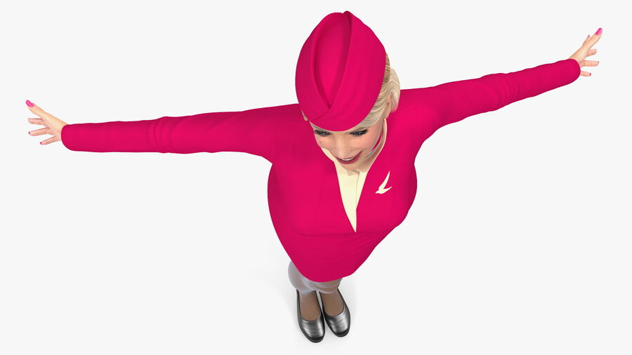 Flight Attendant in Maroon Dress royalty-free 3d model - Preview no. 14