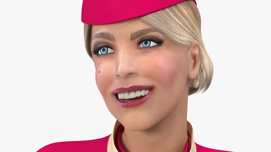 Flight Attendant in Maroon Dress royalty-free 3d model - Preview no. 11