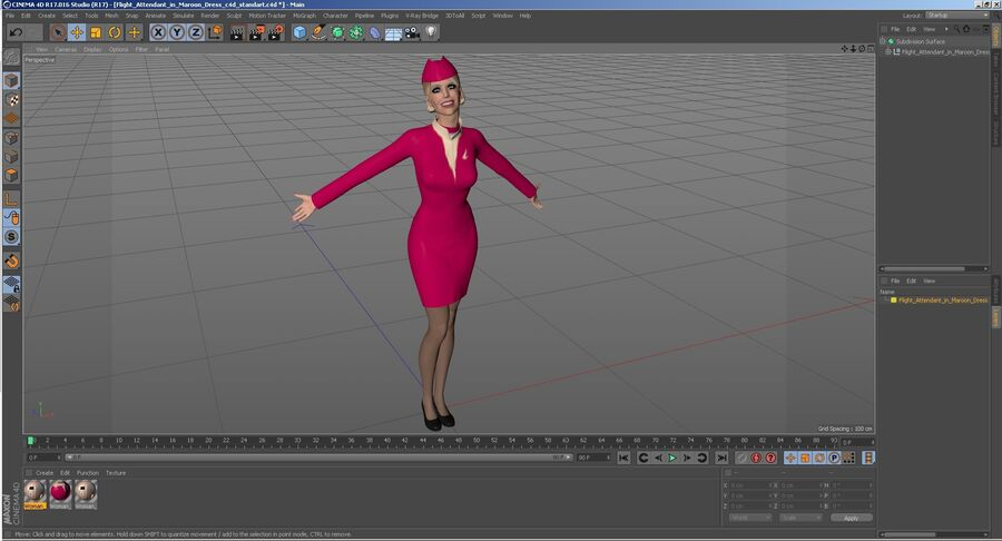 Flight Attendant in Maroon Dress royalty-free 3d model - Preview no. 27