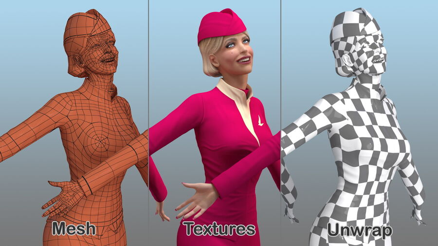 Flight Attendant in Maroon Dress royalty-free 3d model - Preview no. 16
