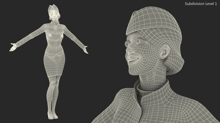 Flight Attendant in Maroon Dress royalty-free 3d model - Preview no. 18