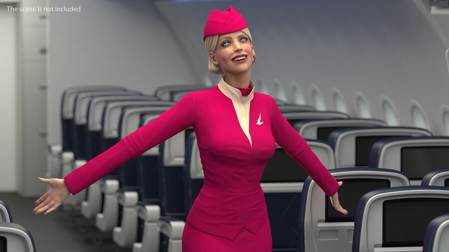 Flight Attendant in Maroon Dress royalty-free 3d model - Preview no. 8