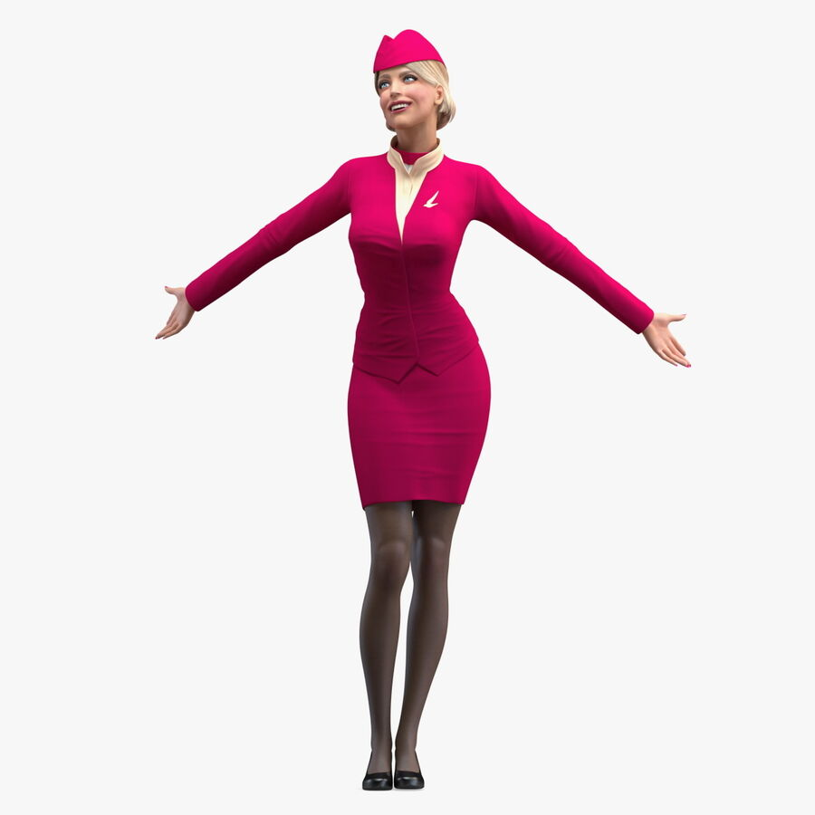 Flight Attendant in Maroon Dress royalty-free 3d model - Preview no. 1