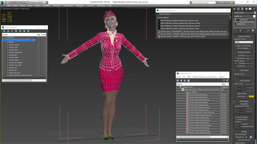 Flight Attendant in Maroon Dress royalty-free 3d model - Preview no. 22