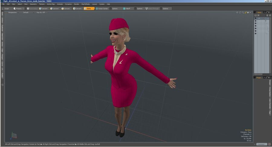 Flight Attendant in Maroon Dress royalty-free 3d model - Preview no. 29