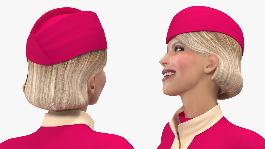 Flight Attendant in Maroon Dress royalty-free 3d model - Preview no. 10