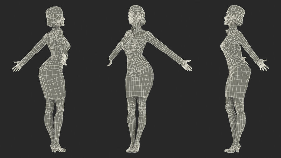 Flight Attendant in Maroon Dress royalty-free 3d model - Preview no. 23