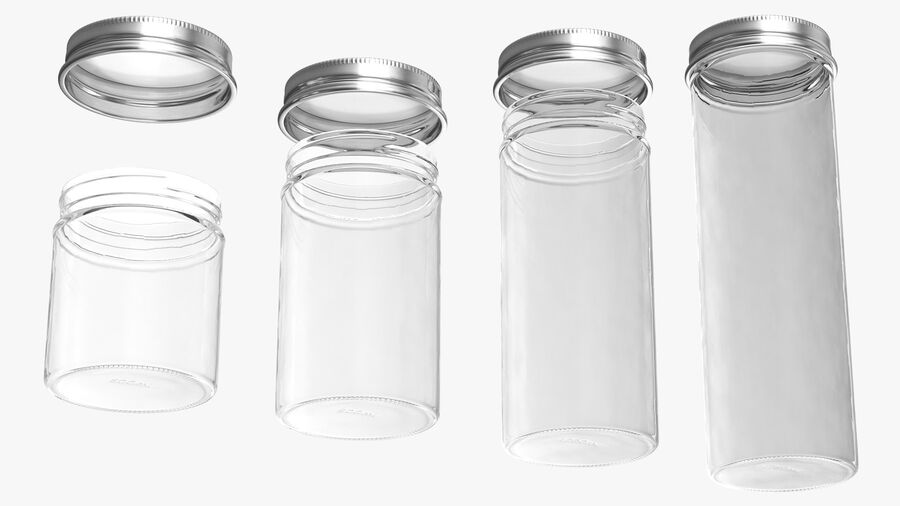 Kitchen Storage Glass Jar with Steel Lid Set royalty-free 3d model - Preview no. 12