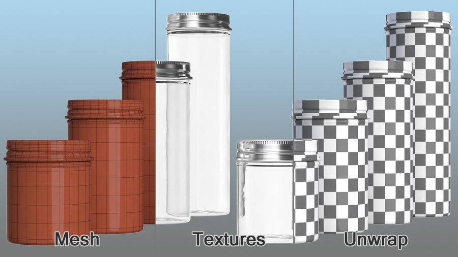Kitchen Storage Glass Jar with Steel Lid Set royalty-free 3d model - Preview no. 13