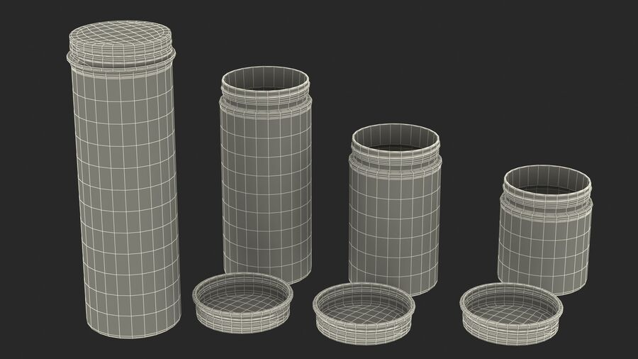 Kitchen Storage Glass Jar with Steel Lid Set royalty-free 3d model - Preview no. 24
