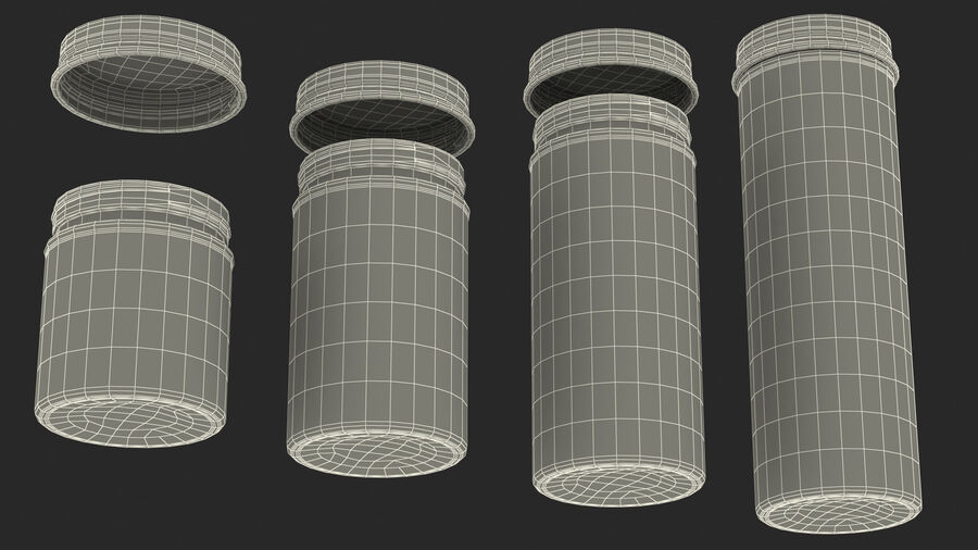 Kitchen Storage Glass Jar with Steel Lid Set royalty-free 3d model - Preview no. 28