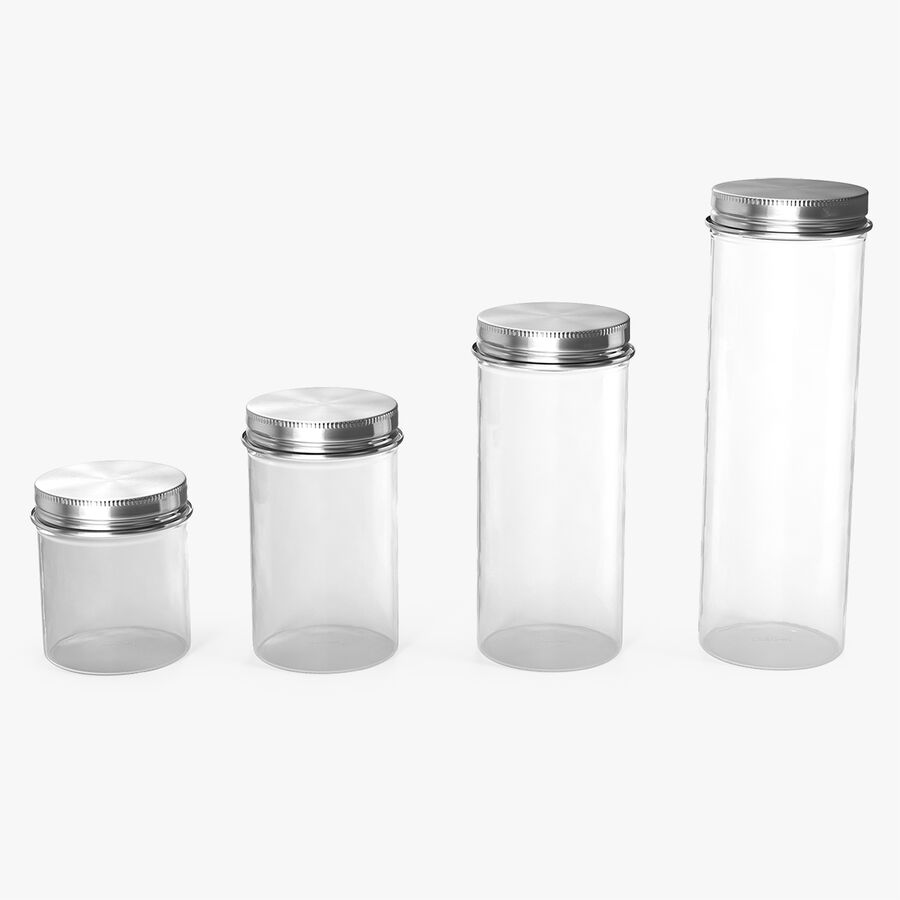 Kitchen Storage Glass Jar with Steel Lid Set royalty-free 3d model - Preview no. 1