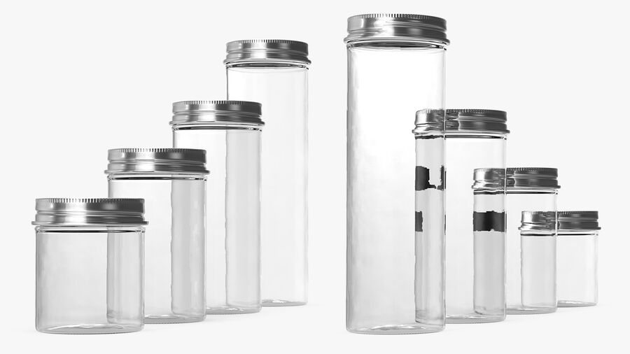 Kitchen Storage Glass Jar with Steel Lid Set royalty-free 3d model - Preview no. 8