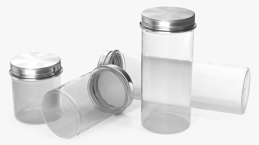Kitchen Storage Glass Jar with Steel Lid Set royalty-free 3d model - Preview no. 7